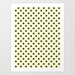 Black on Cream Yellow Stars Art Print