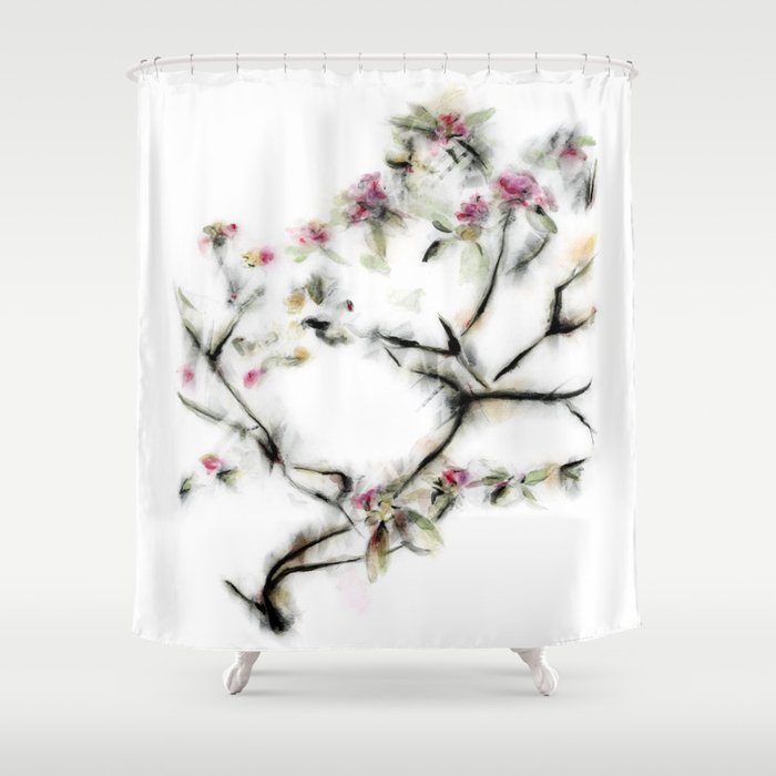 Pink Flowers With Gold Black And Green Shower Curtain By Kellascampbell