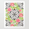 Peach Pink Roses and Mandalas on Lime Green and White by micklyn