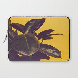 Mid Century Modern Yellow Background Color Pop Minimalist Plant Leaves Laptop Sleeve
