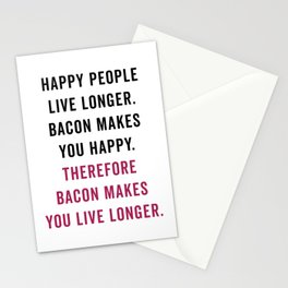 Happy People Bacon Funny Quote Stationery Cards