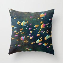 Many Many Fish Throw Pillow