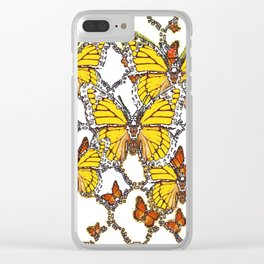 ABSTRACT LACEY PATTERN MONARCH BUTTERFLIES DESIGN Clear iPhone Case