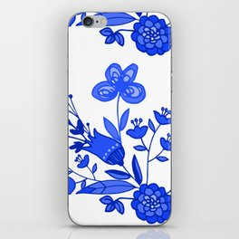 Blue &White Floral iPhone Skin