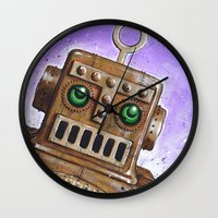 steam punk Wall Clocks featuring i.Friend: Steam Punk Robot by CHRIS MASON