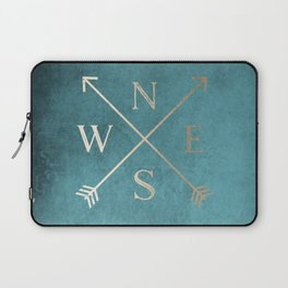 Gold on Turquoise Distressed Compass Adventure Design Laptop Sleeve