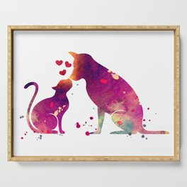 Cat and Dog Art Love Gift Animals Art Colorful Purple Watercolor Art Gift Pets Art Serving Tray