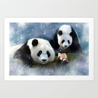 pandas Art Prints featuring Pandas by Julie Hoddinott