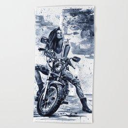 Biker Girl Beach Towel