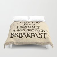 the hobbit Duvet Covers featuring Hobbit Love by HeyShay