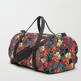 Pugs and Spring Floral Duffle Bag