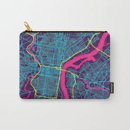 Philadelphia Neon City Map, Philadelphia Minimalist City Map Carry-All Pouch