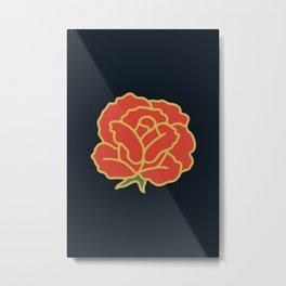 Dark Minimal Rose Metal Print