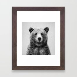 Grizzly Bear - Black & White Framed Art Print