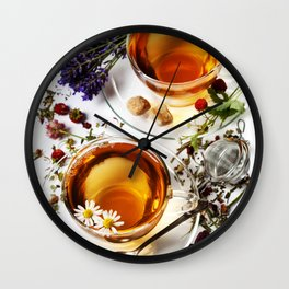 Herbal tea with honey, wild berry and flowers on wooden background Wall Clock