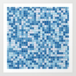 Blue Pool Squares Art Print