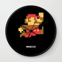 video game Wall Clocks featuring Lab No.4 -Mario Video Game Quotes,Poster by Lab No. 4