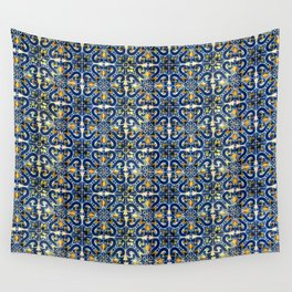 Blue, Yellow and Orange Portuguese Tile  Wall Tapestry