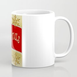 Red Merry Christmas Banner On Gold With Snowflakes  Coffee Mug