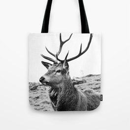 The Stag on the hill - b/w Tote Bag