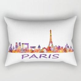 París City Skyline HQ Watercolor Rectangular Pillow