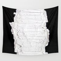 black white Wall Tapestries featuring Black, White & White by RvHART