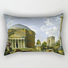 Giovanni Pauolo Panini Fantasy View with the Pantheon and other Monuments of Ancient Rome Rectangular Pillow