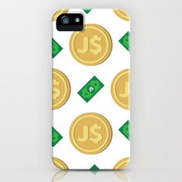 Jamaica's Jamaican dollar J$ code JMD banknote and coin pattern wallpaper iPhone Case