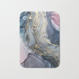 Blush, Payne's Gray and Gold Metallic Abstract Bath Mat