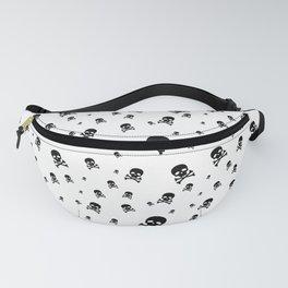 Black Pirate Skull on White Fanny Pack