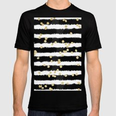 Modern black watercolor stripes chic gold confetti MEDIUM Black Mens Fitted Tee
