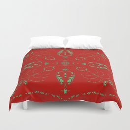 Victorian Green Lace Medallion Duvet Cover