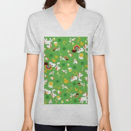 St. Patrick's Day Unicorn Pattern Unisex V-Neck