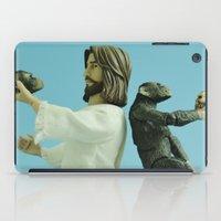 darwin iPad Cases featuring Jesus vs Darwin by Beastie Toyz