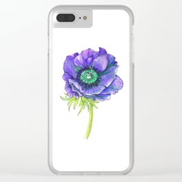 Blue Floral Elements Clear iPhone Case