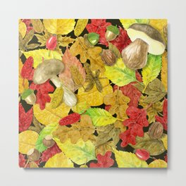 Watercolor autumn pattern Metal Print
