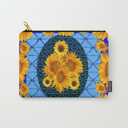 DECORATIVE BLUE ART & YELLOW SUNFLOWERS PATTERN Carry-All Pouch