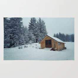 cabin in mountains Rug