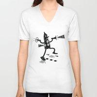 propaganda V-neck T-shirts featuring Propaganda Bot by Ahnix