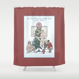 Team Cap Naughty Pinup Holiday Card Shower Curtain