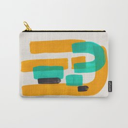 Turq Yellow Black Accent Mid Century Modern Abstract Minimalist Colorful Shapes by Ejaaz Haniff Carry-All Pouch