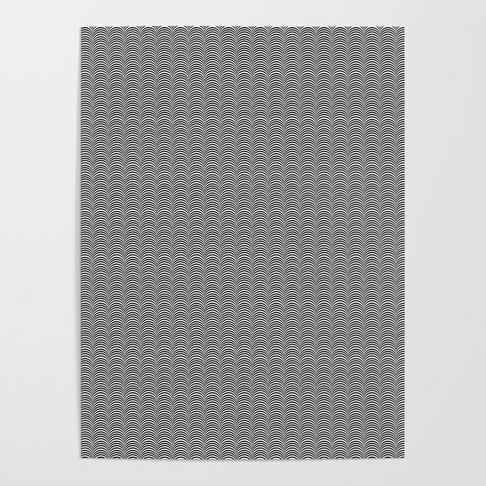 Black and White Scallop Line Pattern Digital Graphic Design Poster