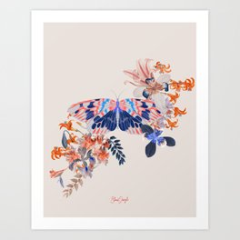 Exotic Collage Butterfly Jungle Art Print