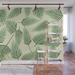 palm Leaves green light background Wall Mural