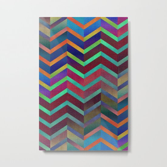 Color Transition Chevron Metal Print
