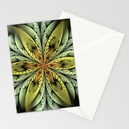 Golden flower with mint swirls Stationery Cards