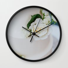 White Wedding Cake and Flowers Wall Clock