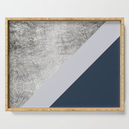 Modern minimalist navy blue grey and silver foil geometric color block Serving Tray