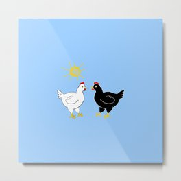 Hens and Sun Metal Print