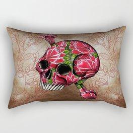 trad rose covered skull Rectangular Pillow